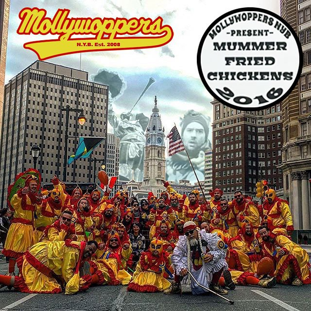 The #MollyWoppersNYB would like to thank everyone who came out and supported us on New Years Day for the #mummersdayparade2016! Our #mummerfriedchickens routine earned us a television spot and 17th place in the Comics Division! Well done everyone, from the chickens 🐔, to the marshals, and to our Fans!  Thank you! 🐔 Thank you to O'Malley NYB again for letting us march along with you down 2 street another year! 🐔 And a special thank you to our Captain @bingwithoutthebeard for leading us once again into another great new year! 🐔 With all that being said: MollyWoppers, let's have a meeting to go over the good, the bad, and the ugly and keep the momentum going! Got theme ideas, bring 'em! New recruits welcome with a sponsor.  Wednesday, January 13th, 2016, 7:30 at O'Malley Club. 🐔 #peopleschamp #mummers #mummersparade #omalleyNYB #mollywoppersnyb2016