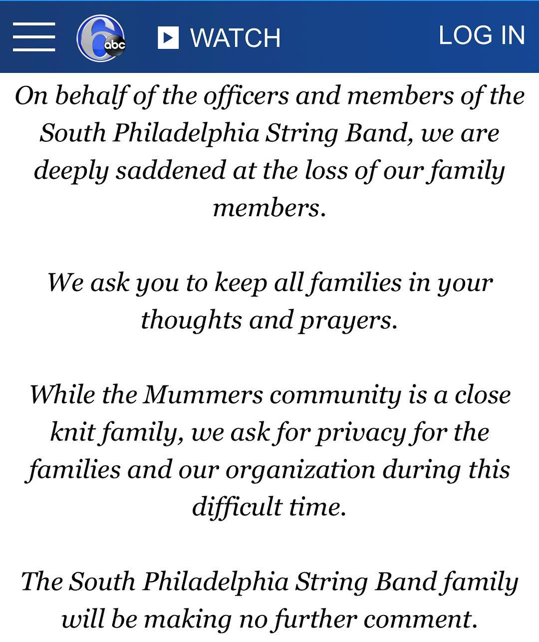 The Mollywoppers would like to send our condolences to the @southphillystringband @spsb1946 and their families.