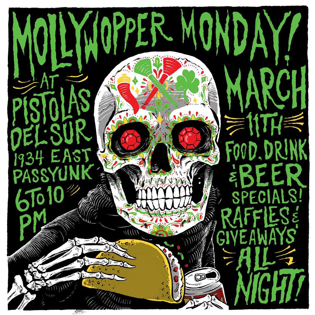 Come party with your favorite #mummers, the @mollywoppersnyb at @pistolasdelsur March 11th from 6 to 11! #MollyWoppersNYB  #mollywoppermonday