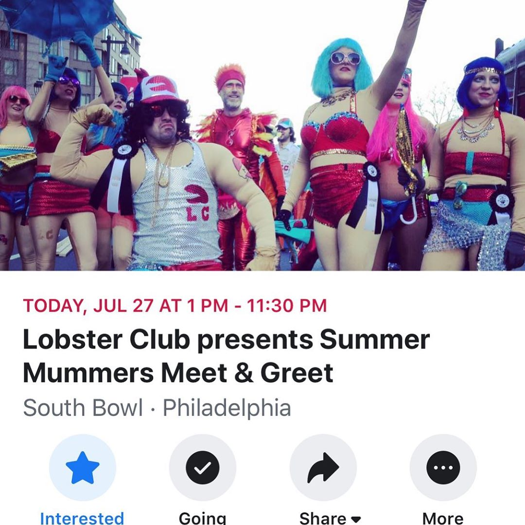 The @thelobsterclub is throwing a mummer meet and greet party tonight at south bowl!